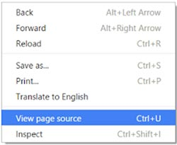 The pop up menu seen when you right-click on a web page includes the option to View page source.