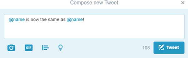 Screen capture of a compose new tweet box that reads, period-at-name is now the same as at-name!