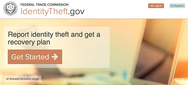 The homepage of identitytheft.gov