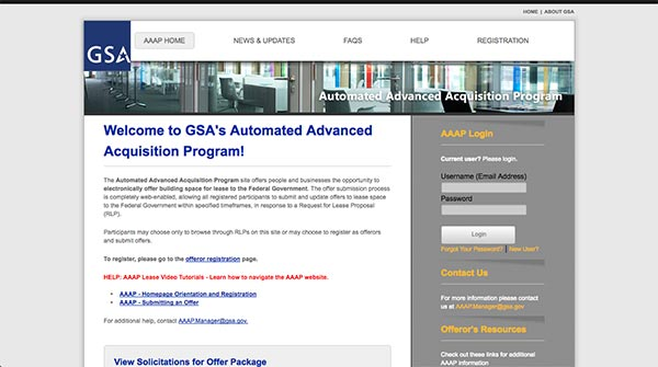 Screencapture of the Automated Advanced Acquisition Program homepage