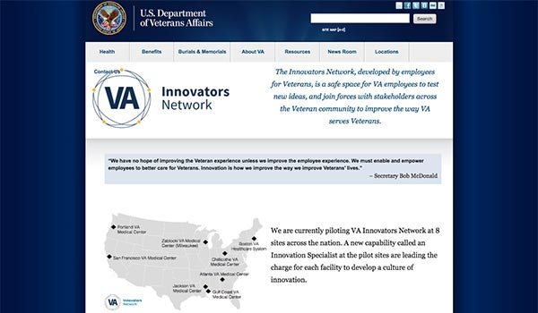 Screen capture of the VA Innovators Network website.