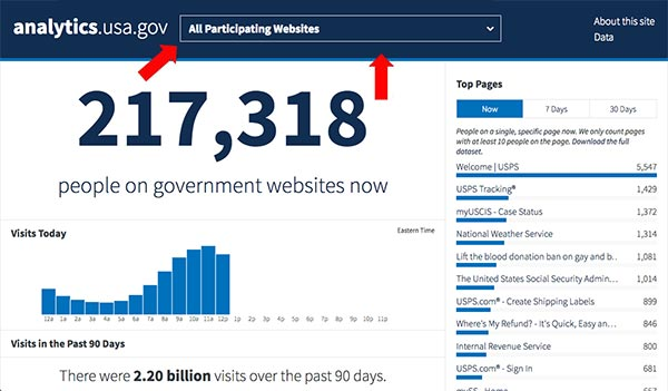 Screen capture showing arrows pointng to all participating websites, and the number of visitors to those sites at that moment; 217, 318 people.