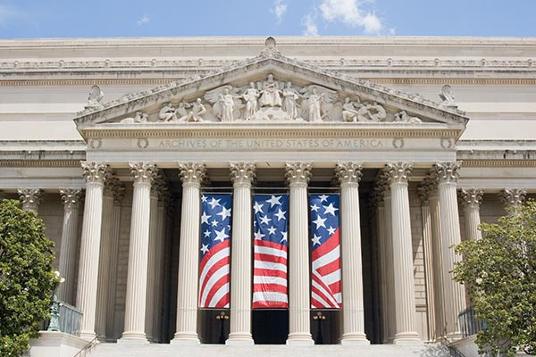 Facade of the National Archives of the United States