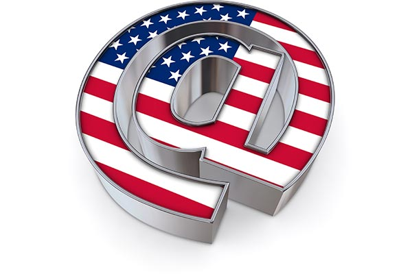 A 3-D at symbol with the U.S. flag on the front.