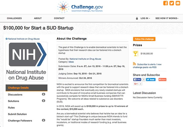 Screen cpature of the Challenge.gov page for the NIH SUD Startup