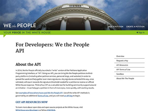 Screen capture of We the People Developers API page.