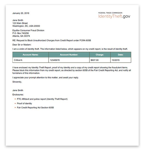 A template letter that users can send to credit reporting agencies.