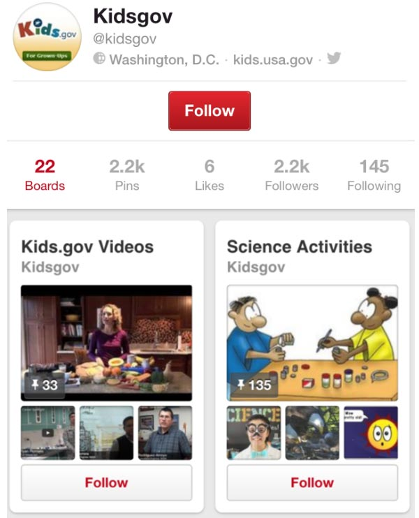 Screen capture of 2 boards on the Kids.gov Pinterest page.