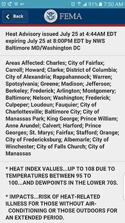 Screen capture of the FEMA app's Heat Advisory for the Washington, DC area on July 25, 2016.
