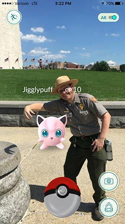 Jigglypuff and NPS at the Washington Monument in Washington, D.C.