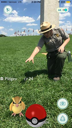 Pidgey and NPS at the Washington Monument in Washington, D.C.
