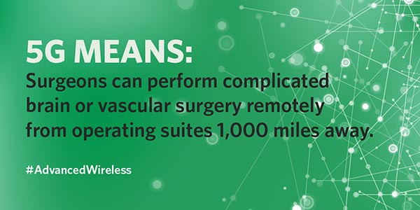 5G means: Surgeons can perform complicated brain of vascular surgery remotely from operating suites 1,000 miles away. Hashtag Advanced wireless.