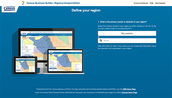 Screen capture of the Census Business Builder, Regional Analyst Edition homepage.