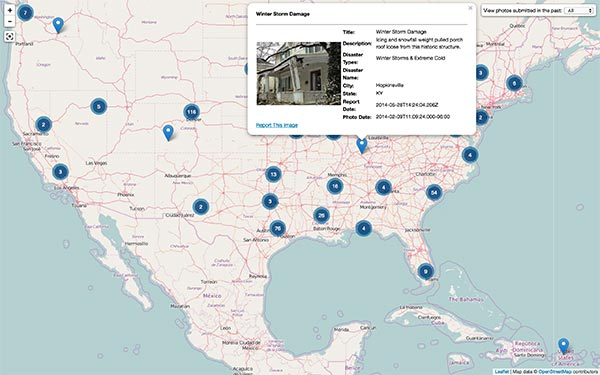 FEMA app Disaster Reporter Map with photo from a U.S. location showing winter storm damage.
