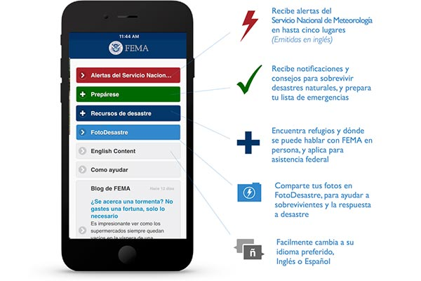 FEMA app in Spanish.