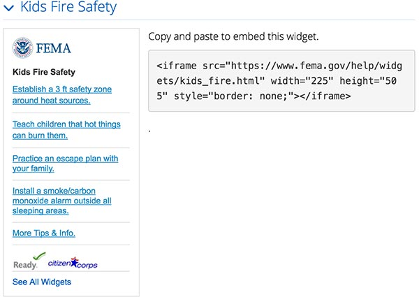 Screen capture of the FEMA website widgets Kids Fire Safety display on the left and the i frame code on the right.