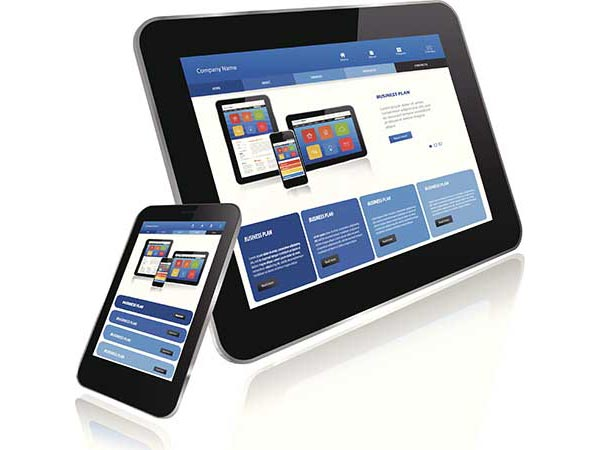 Examples of responsive web design are shown on illustrations of a tablet and smart phone