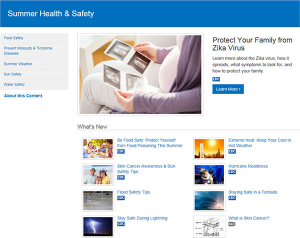 CDC and NIH Summer Health and Safety microsite preview.
