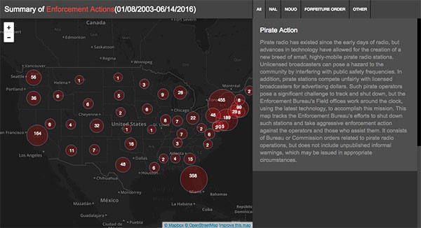 A data visualization map for Pirate Radio locations.