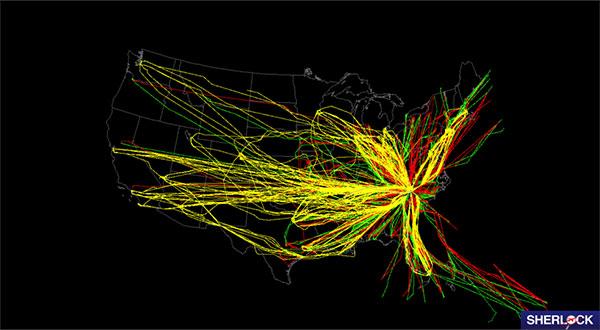NASA's Sherlock Air Traffic Management Data Warehouse shows one day of air traffic for Charlotte-Douglas International Airport.
