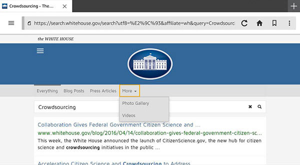 Screen capture from a Kindle device of DigitalGov Search on the White House website.