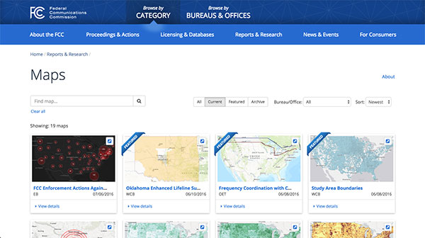 Screen capture of the FCC Maps page