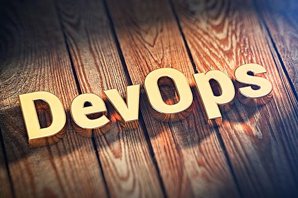 Word DevOps on wood planks