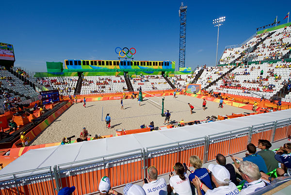 The Venue for Olympic Beach Volleyball on the Copacabana Beach at the 2016 Summer Olympics in Rio, taken August 6, 2016.