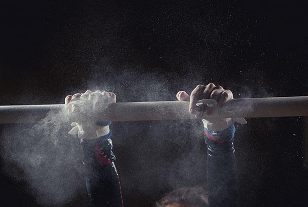 Hands of gymnast.