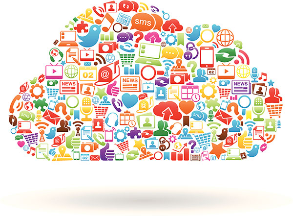 Colorful collage of cloud computing apps.