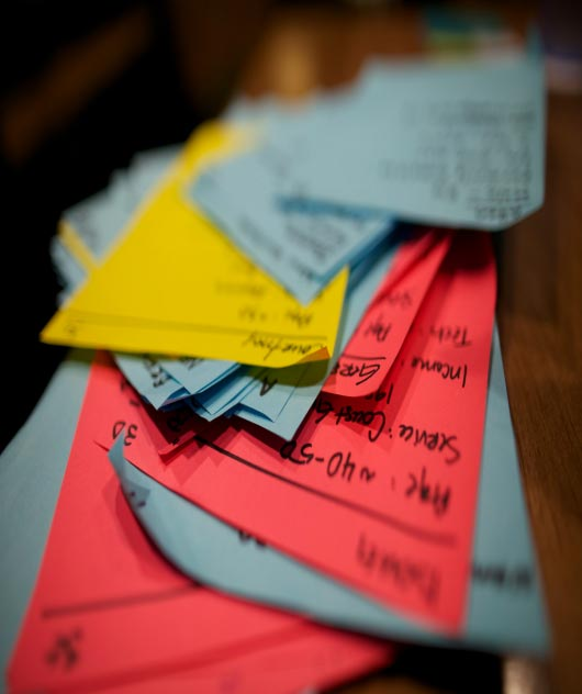 A pile of Post-It notes.