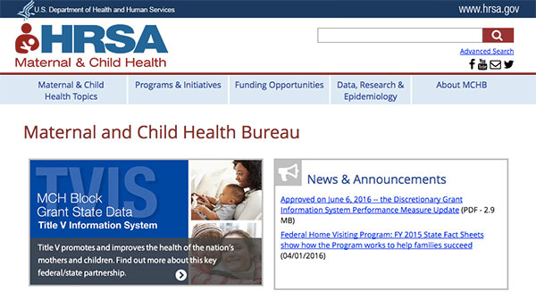 Health Resources and Services Administration's (HRSA) Maternal and Child Health Bureau's (MCHB) homepage.
