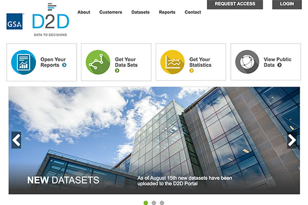 Screen capture of the Data-to-Decision (D2D) homepage.