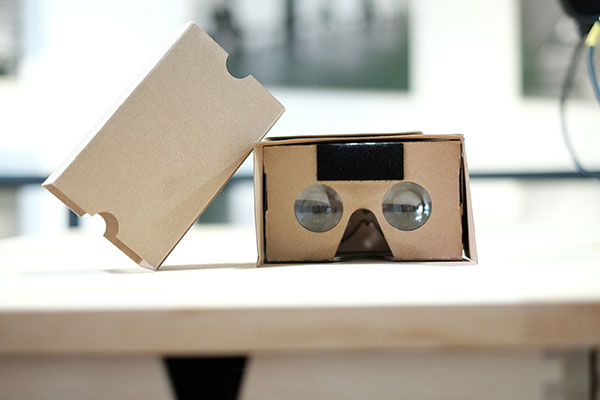 A Google Cardboard virtual reality viewer.