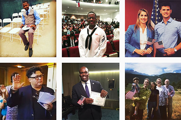Six thumbnails of new U.S. citizens from the USCIS Instagram account.