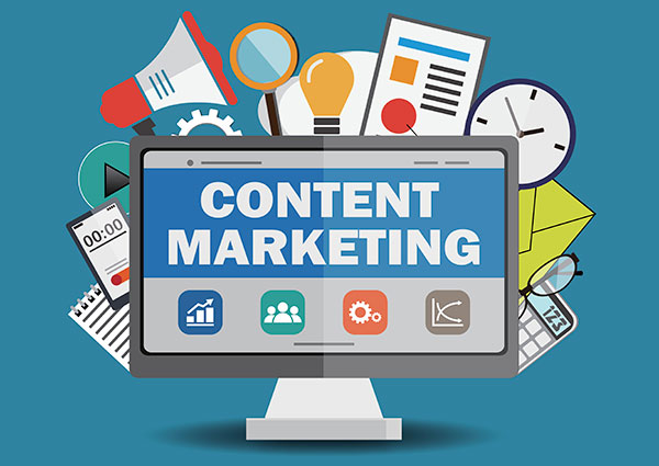 Flat design illustration of content marketing concept.