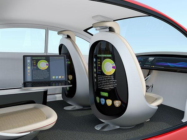 Autonomous self-driving car interior concept.