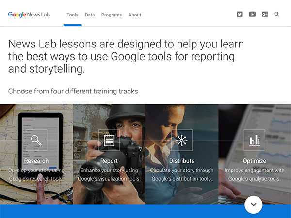 Screen capture of the Google News Lab homepage shows some of the lessons and training available.