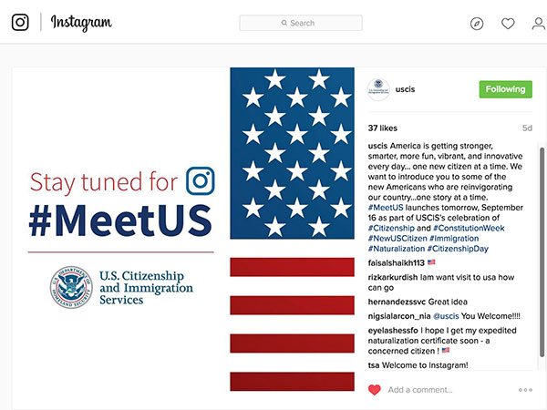 Screen capture of USCIS MeetUS English on Instagram.
