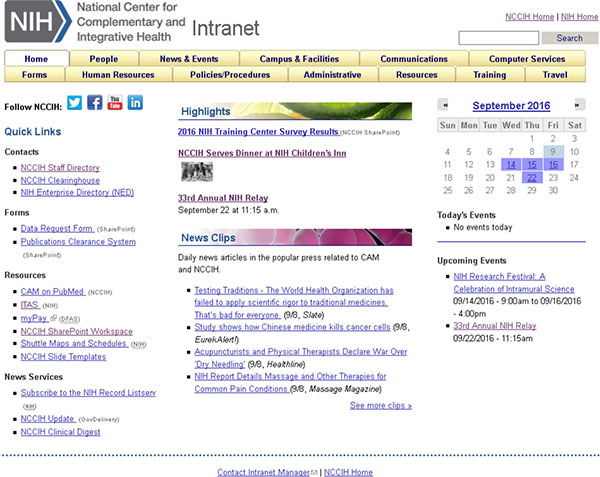 Screen capture of the NCCIH Intranet homepage.