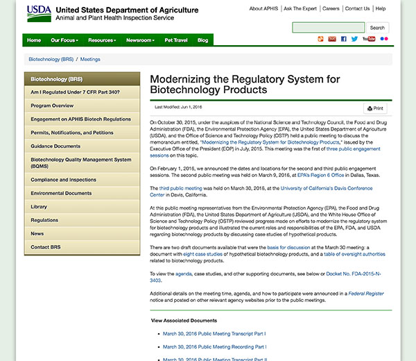 Modernizing the Regulatory System for Biotechnology Products homepage.