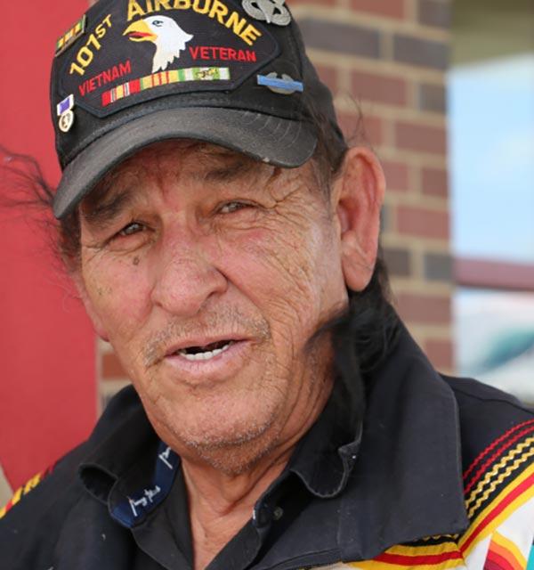 Vietnam Veteran wearing a 101st Airborne Division hat.
