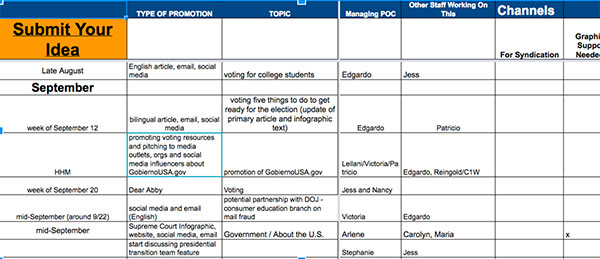 Screenshot of the USAGov editorial calendar.