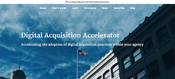 Screen capture of the Digital Acquisition Accelerator homepage.