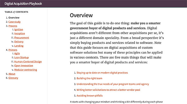 Screen capture of the Digital Acquisition Playbook homepage.