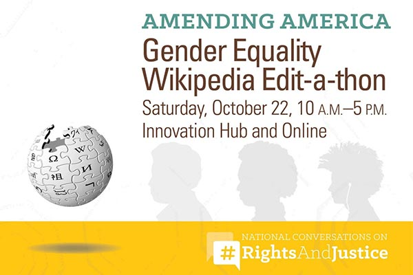 Gender Equality Edit-a-thon graphic showing Wikipedia logo and Amending America logo.
