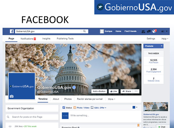Screen capture of the GobiernoUSA Facebook page.