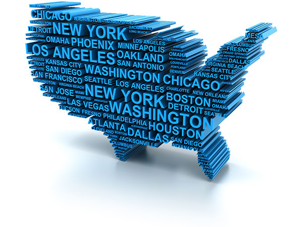 3D map formed by names of major USA cities.