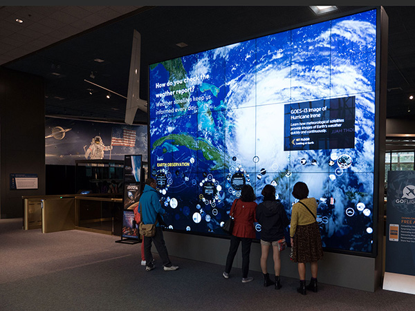 Interactive wall at Smithsonian National Air and Space Museum (NASM) entrance.