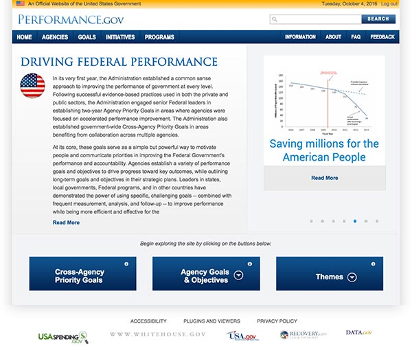 Screen capture of the Performance.gov homepage.